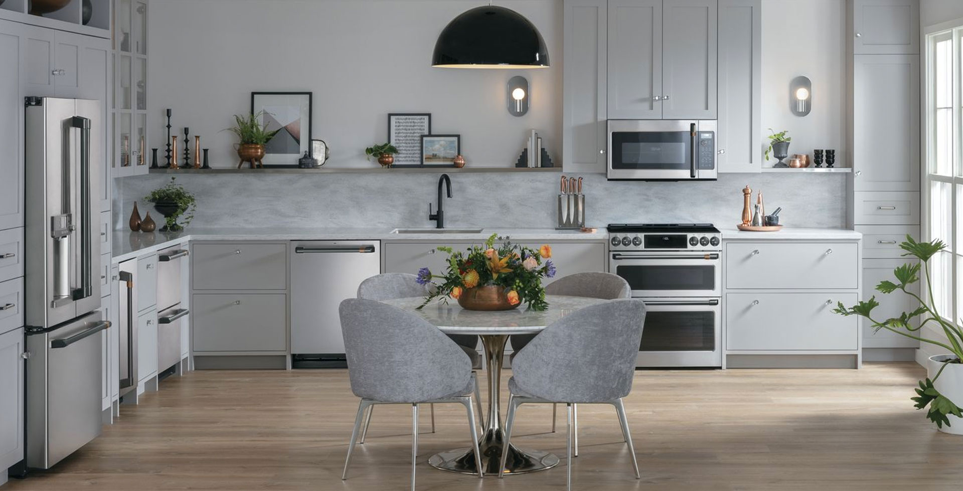 Stainless Steel Kitchen Suite With Grey Cabinets Global Decor Centre Ltd